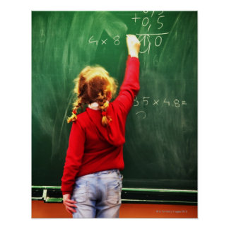 young girl writing on a blackboard posters