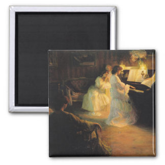 Young Girls at a Piano, 1906 2 Inch Square Magnet