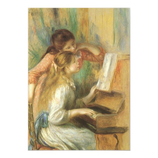 Young Girls at Piano by Pierre Renoir Card