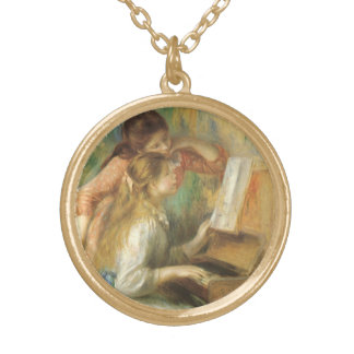 Young Girls at Piano by Pierre Renoir Gold Plated Necklace