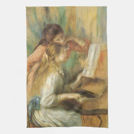 Young Girls at Piano by Pierre Renoir Hand Towels