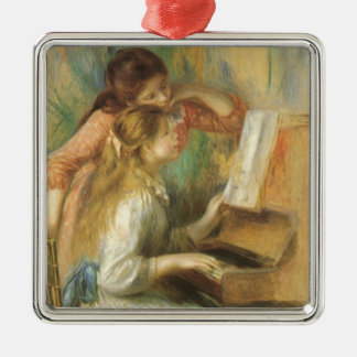 Young Girls at Piano by Pierre Renoir Metal Ornament