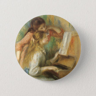 Young Girls at Piano by Pierre Renoir Pinback Button