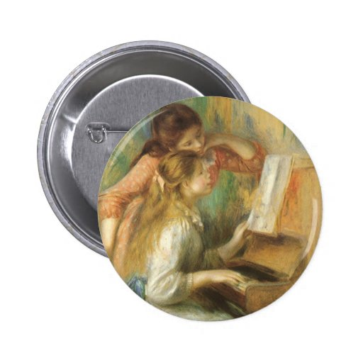 Young Girls at Piano by Renoir, Vintage Fine Art Button