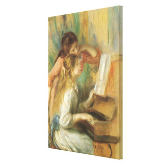 Young Girls at Piano by Renoir, Vintage Fine Art Canvas Print