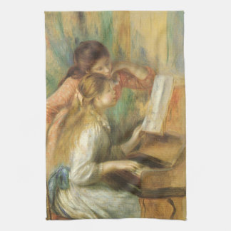 Young Girls at Piano by Renoir, Vintage Fine Art Hand Towel