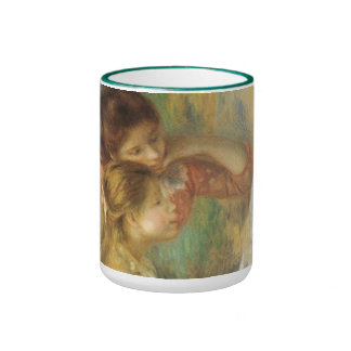 Young Girls at Piano by Renoir, Vintage Fine Art Ringer Coffee Mug