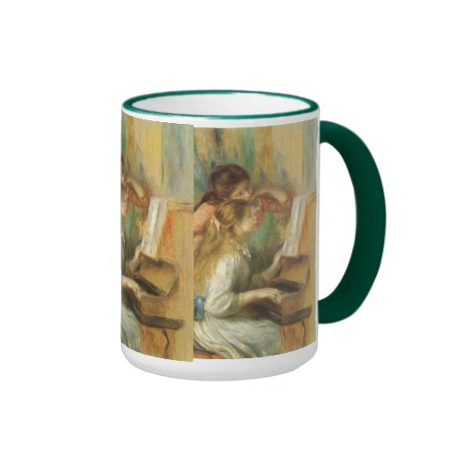 Young Girls at Piano by Renoir, Vintage Fine Art Mugs