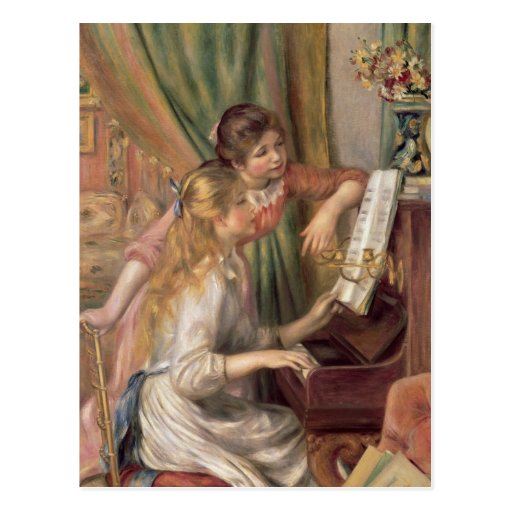 Young Girls at the Piano, 1892 Postcard