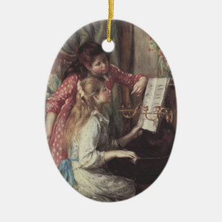 Young Girls at the Piano by Pierre Renoir Ceramic Ornament