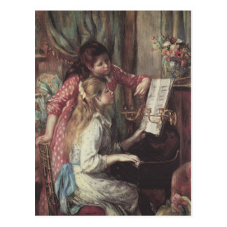 Young girls at the piano by Pierre Renoir Postcard