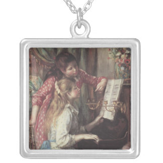 Young Girls at the Piano by Pierre Renoir Silver Plated Necklace