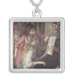 Young Girls at the Piano by Pierre Renoir Square Pendant Necklace