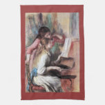 Young girls at the piano by Pierre Renoir Towels