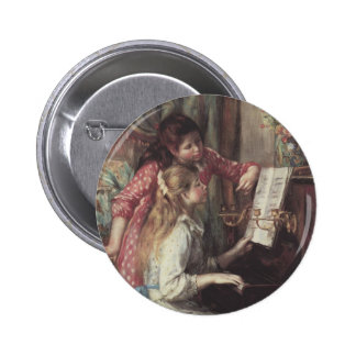 Young Girls at the Piano, Renoir Impressionism Art 2 Inch Round Button