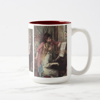 Young Girls at the Piano, Renoir Impressionism Art Two-Tone Coffee Mug