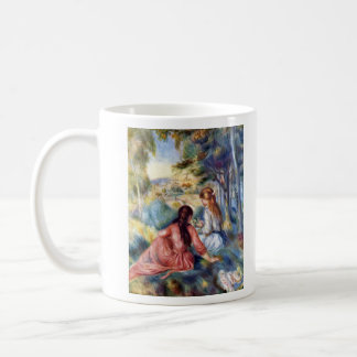 Young girls in the meadow by Pierre Renoir Mug