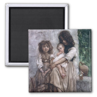Young girls of Ischia 2 Inch Square Magnet