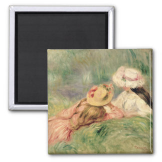 Young Girls on the River Bank (oil on canvas) 2 Inch Square Magnet