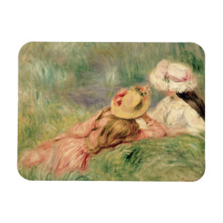 Young Girls on the River Bank (oil on canvas) Rectangular Photo Magnet