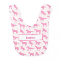 Young Girl's Pink Glitter Horses with Name Baby Bib