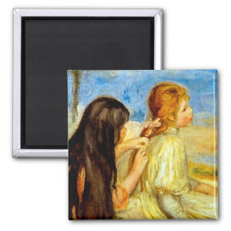Young girls seaside beautiful Renoir painting art 2 Inch Square Magnet