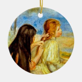 Young girls seaside beautiful Renoir painting art Ceramic Ornament