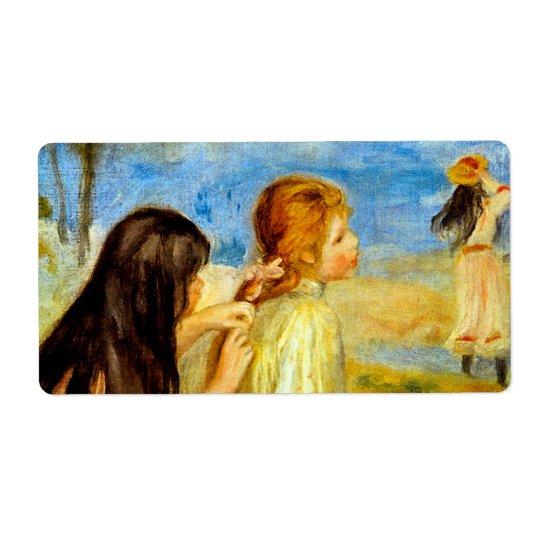 Young girls seaside beautiful Renoir painting art Label
