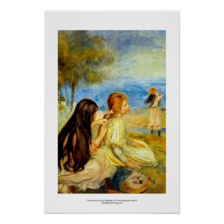 Young girls seaside beautiful Renoir painting art Poster