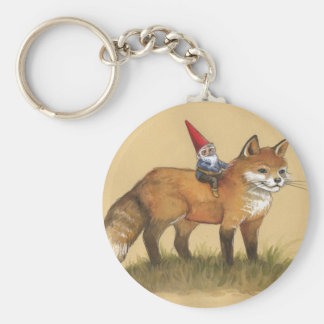 Young Gnome and Fox Basic Round Button Keychain
