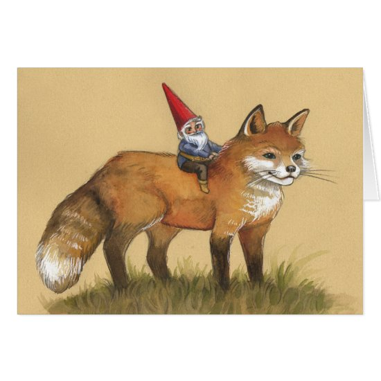 Young Gnome and Fox Card