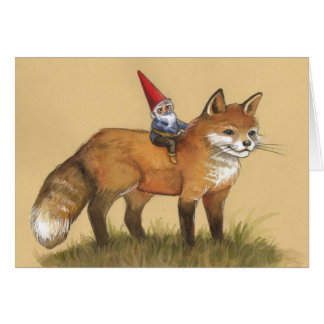 Young Gnome and Fox Greeting Card