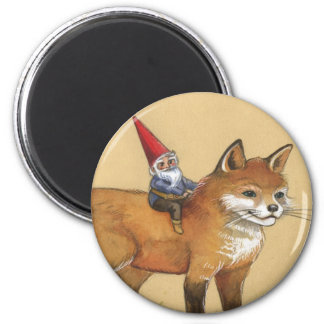 Young Gnome and Fox Refrigerator Magnets