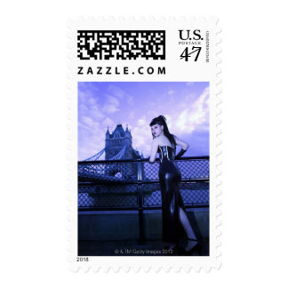 Young Goth woman at Tower Bridge, London Postage Stamp