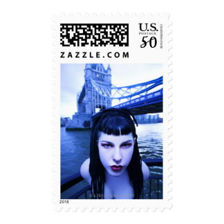Young Goth woman leaning suggestively near Tower Postage
