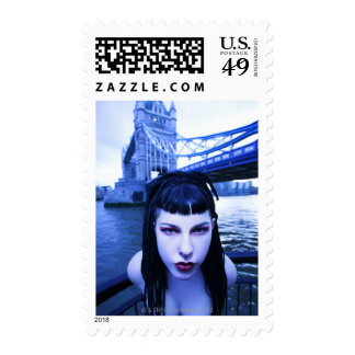 Young Goth woman leaning suggestively near Tower Postage Stamp