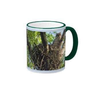 Young Great Horned Owl at Nest Ringer Mug