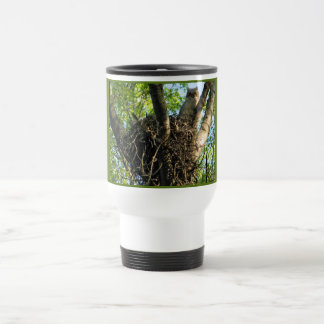 Young Great Horned Owl at Nest Travel Mug