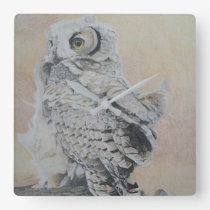 Young Great Horned Owl in  Water Color Pencil Square Wall Clock