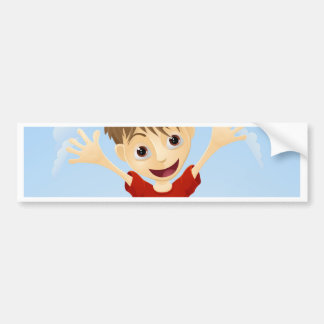 Young happy boy jumping bumper stickers