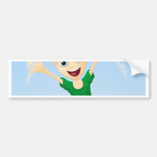 Young happy girl jumping bumper stickers