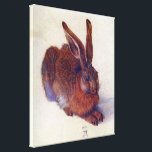 """Young Hare by Albrecht Durer, Renaissance Fine Art Canvas Print<br><div class=""""desc"""">Young Hare (1502) by artist Albrecht D&#252;rer (1471-1528) is a vintage Renaissance fine art animal portrait painting. A baby field rabbit in a meadow of white snow during the winter season. A cute forest creature.</div>"""