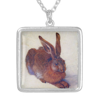 Young Hare by Albrecht Durer, Renaissance Fine Art Silver Plated Necklace
