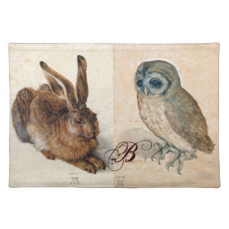 Young Hare (Rabbit ) and  Owl Monogram Cloth Placemat