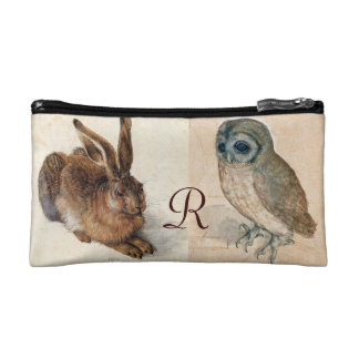 Young Hare (Rabbit ) and  Owl Monogram Makeup Bag