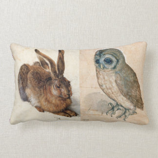 Young Hare (Rabbit ) and  Owl Throw Pillows