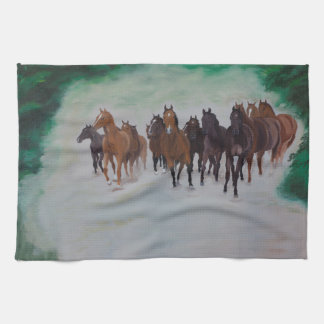 Young herd of horse in the gallopp kitchen towels