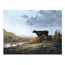 Young Herdsmen with Cows Postcard