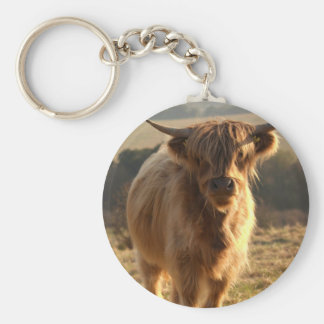 Young Highland Cow Basic Round Button Keychain