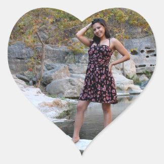Young Hispanic Woman Heart Sticker